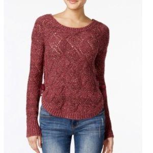 American Rag Lace-Up Diamond-Stitch Sweater